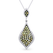 0.96ct Fancy Color Diamond Pave Pendant & Chain Necklace in 14k White & Black Gold - AM-DN4298