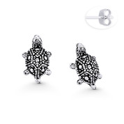 3D Tortoise Animal Charm Stud Earrings in Oxidized .925 Sterling Silver - ST-SE101-SL