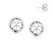 3-Heart Leaf Clover Irish Shamrock & Circle Charm Stud Earrings in Oxidized .925 Sterling Silver - ST-SE110-SL