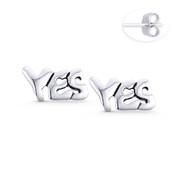 """YES"" Word Script Statement Earring Studs in Oxidized .925 Sterling Silver - ST-SE111-SL"