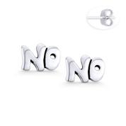 """NO"" Word Script Statement Earring Studs in Oxidized .925 Sterling Silver - ST-SE112-SL"