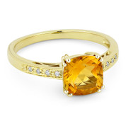 1.43ct Cushion Cut Citrine & Round Cut Diamond Engagement / Promise Ring in 14k Yellow Gold