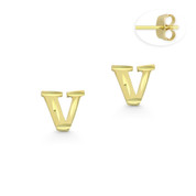 """Initial Letter """"V"""" Stud Earrings with Push-Back Posts in 14k Yellow Gold - BD-ES051V-14Y"""