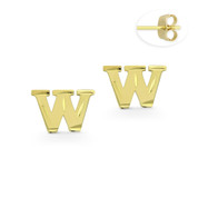 """Initial Letter """"W"""" Stud Earrings with Push-Back Posts in 14k Yellow Gold - BD-ES051W-14Y"""