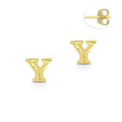 """Initial Letter """"Y"""" Stud Earrings with Push-Back Posts in 14k Yellow Gold - BD-ES051Y-14Y"""