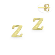 """Initial Letter """"Z"""" Stud Earrings with Push-Back Posts in 14k Yellow Gold - BD-ES051Z-14Y"""