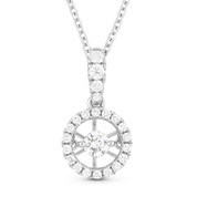 0.25ct Floating Round Brilliant Cut Diamond & Halo Pendant & Chain Necklace in 14k White Gold - AM-DN4636