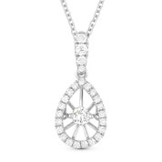 0.24ct Floating Round Brilliant Cut Diamond & Halo Pendant & Chain Necklace in 14k White Gold - AM-DN4638