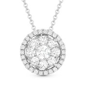 0.57ct Round Cut Diamond Cluster Halo Pendant & Chain Necklace in 14k White Gold - AM-DN4667