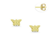 Butterfly Charm Stamping Children's Stud Earrings with Push-Back Posts in 14k Yellow Gold - BD-ES011-14Y