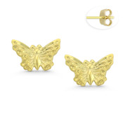 Butterfly Charm Stamping Stud Earrings with Push-Back Posts in 14k Yellow Gold - BD-ES013-14Y