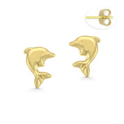Dolphin Stamping Children's Stud Earrings with Push-Back Posts in 14k Yellow Gold - BD-ES019-14Y