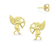 Cherub Angel Bow & Arrow Stud Earrings w/ Push-Backs in 14k Yellow Gold - BD-ES022-14Y