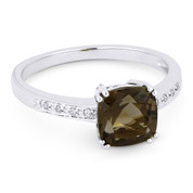 1.41ct Cushion Cut Smoky Topaz & Round Cut Diamond Engagement / Promise Ring in 14k White Gold