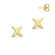 """Criss-Cross X """"Kiss"""" Sign Charm Stud Earrings with Push-Back Posts in 14k Yellow Gold - BD-ES030-14Y"""