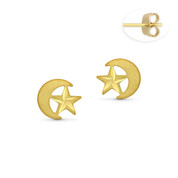 D-Cut Star and Moon Celestial Charm Stud Earrings with Push-Back Posts in 14k Yellow Gold - BD-ES032-14Y