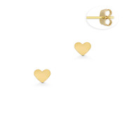 Flat 3x4mm Heart Charm Stud Earrings with Push-Back Posts in 14k Yellow Gold - BD-ES033-14Y
