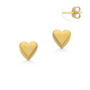 6x6mm Heart Charm Stud Earrings with Push-Back Posts in 14k Yellow Gold - BD-ES035-14Y