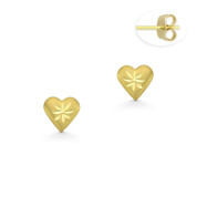 5x5mm D-Cut Pave Heart Charm Stud Earrings with Push-Back Posts in 14k Yellow Gold - BD-ES036-14Y