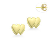 Double Heart Charm Stud Earrings with Push-Back Posts in 14k Yellow Gold - BD-ES038-14Y