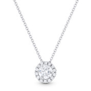 0.41ct Round Brilliant Cut Diamond Halo Pendant 18k White Gold w/ 14k White Gold Chain - AM-DN4686