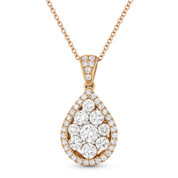 1.12 ct Round Brilliant Cut Diamond Pave Tear-Drop Pendant in 18k Rose Gold w/ 14k Chain - AM-DN5502