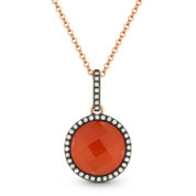 2.90ct Red Agate/White Topaz Doublet & Diamond Pendant & Chain in 14k Rose & Black Gold - AM-DN4036