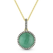 2.92ct Green Agate/White Topaz Doublet & Diamond Pendant & Chain in 14k Yellow & Black Gold - AM-DN4081