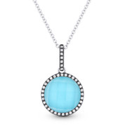 2.65ct Blue Turquoise/White Topaz Doublet & Diamond Pendant & Chain in 14k White & Black Gold - AM-DN3867