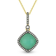 2.25ct Green Agate/White Topaz Doublet & Diamond Pendant & Chain in 14k Yellow & Black Gold - AM-DN4069