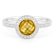 1.39ct Checkerboard Citrine & Round Cut Diamond Pave Halo-Design Ring in 14k White Gold