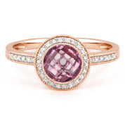 1.45ct Checkerboard Pink Amethyst & Round Cut Diamond Pave Halo-Design Ring in 14k Rose Gold