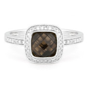 1.54ct Checkerboard Smoky Topaz & Round Cut Diamond Pave Halo-Design Ring in 14k White Gold