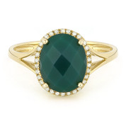 2.51ct Checkerboard Cut Green Agate & Round Diamond Oval Halo Right-Hand Ring in 14k Yellow Gold