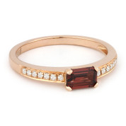 0.61ct Baguette Cut Garnet & Round Diamond Promise Ring in 14k Rose Gold