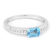 0.79ct Baguette Cut Blue Topaz & Round Diamond Promise Ring in 14k White Gold