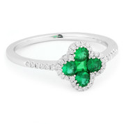 0.54ct Emerald & Diamond Pave Right-Hand Flower Ring in 14k White Gold