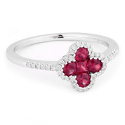 0.57ct Ruby & Diamond Pave Right-Hand Flower Ring in 14k White Gold