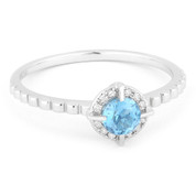 0.32ct Round Brilliant Cut Blue Topaz & Diamond Halo Promise Ring in 14k White Gold