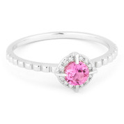 0.36ct Round Brilliant Cut Lab-Created Pink Sapphire & Diamond Halo Promise Ring in 14k White Gold