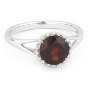 1.71ct Round Brilliant Cut Garnet & Diamond Halo Promise Ring in 14k White Gold
