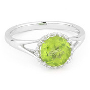 1.46ct Round Brilliant Cut Peridot & Diamond Halo Promise Ring in 14k White Gold