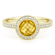 1.39ct Checkerboard Citrine & Round Cut Diamond Pave Halo-Design Ring in 14k Yellow Gold