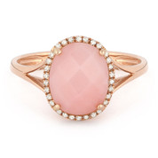 2.29ct Checkerboard Cut Pink Opal & Round Diamond Oval Halo Right-Hand Ring in 14k Rose Gold