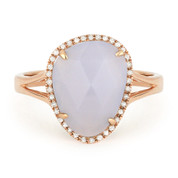 2.99ct Fancy Checkerboard Chalcedony & Round Cut Diamond Halo Right-Hand Ring in 14k Rose Gold