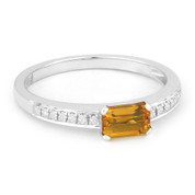0.61ct Baguette Cut Citrine & Round Diamond Promise Ring in 14k White Gold