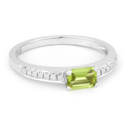 0.70ct Baguette Cut Peridot Gemstone & Round Diamond Promise Ring in 14k White Gold