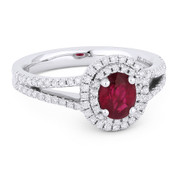 1.09ct Oval Cut Ruby & Round Diamond Pave Double-Halo Engagement Ring in 18k White Gold