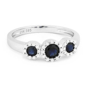 0.73ct Round Cut Sapphire & Diamond Pave Three-Stone Halo Ring in 14k White Gold