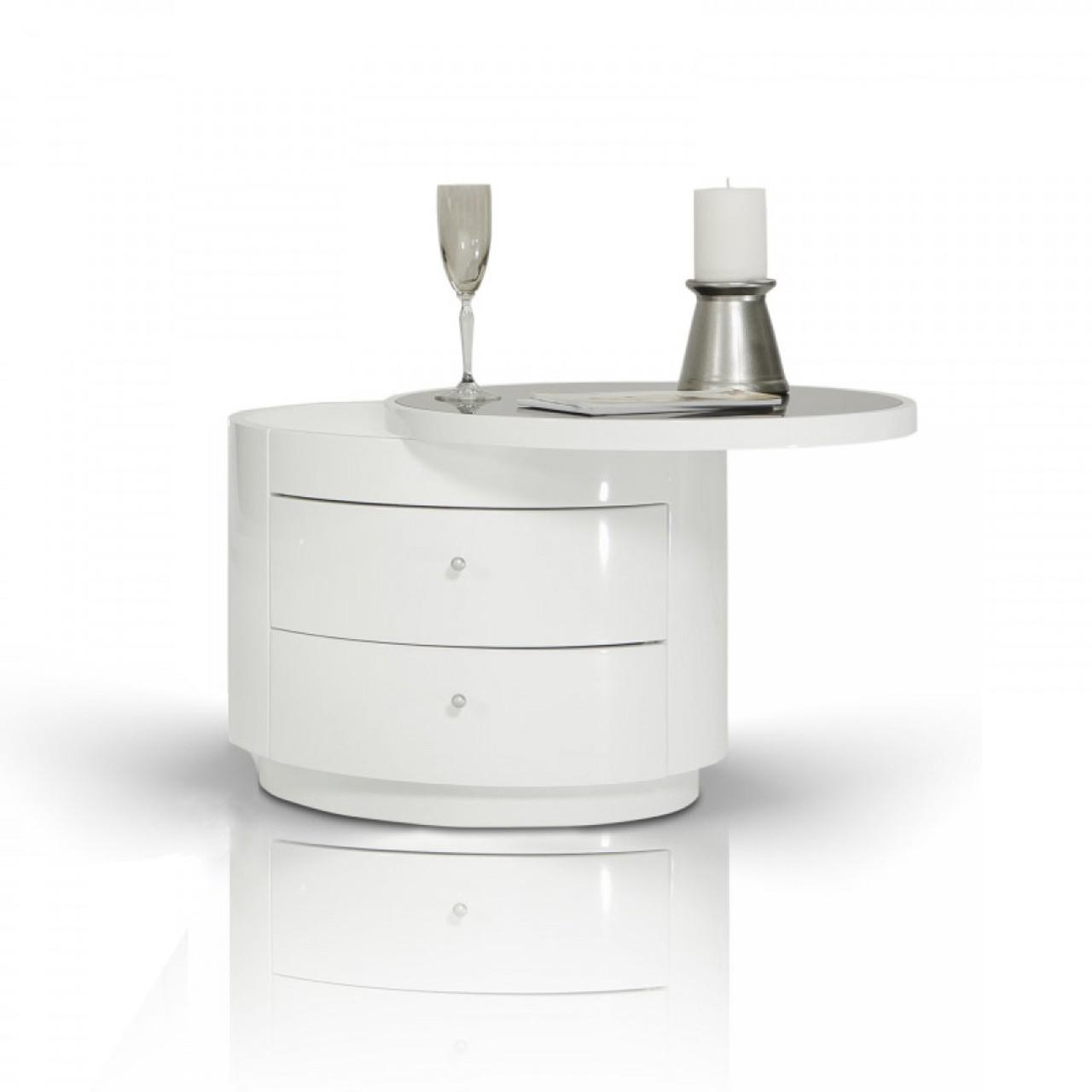Modrest Symphony - Modern White Round Nightstand - Lounge LA